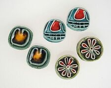 3 Pair Funky Vintage Mid Century Ceramic Pottery Earrings Clip Back Jewelry Lot