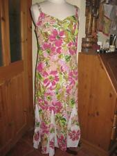 Ladies PER UNA knee-length floral green/pink strappy shift summer dress 14L VGC