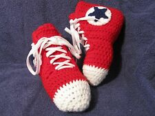 Crochet High Top Sneaker Slippers/Socks in Teen/Women/Men Red w/Blue - Handmade