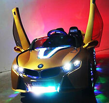 Ride On Toys 12V Battery BMW i8 Car Remote Control LED MP3 Aux Mirrors Yellow