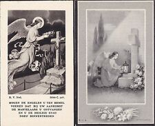 Two Vintage Belgian Funeral / Memorial Cards - Mourning - Angels, Graves, Death