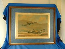 "Framed Decoupage U.S. Air Force planes 19"" x 23"" blue fabric wood frame art jets"