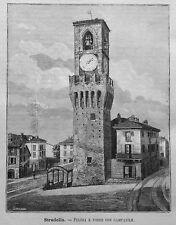 1891=STRADELLA,PIAZZA E TORRE CON CAMPANILE=PAVIA.Xilo+Passepartout.Etna.Premoli