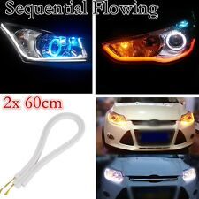 2x60cm LED Sequential DRL Strip Light for Daytime Running Headlight Turn Signal