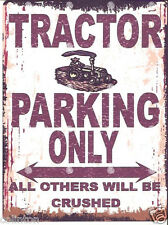 TRACTOR PARKING SIGN RETRO VINTAGE STYLE 6x8in 20x15cm garage workshop art