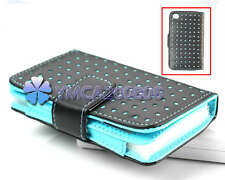 For iPod touch 4 Gen 4th G Blue Dot Leather Wallet Pouch Case Cover Ski th1u