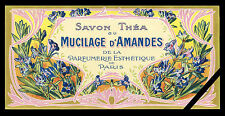 Vintage Soap Label: Old French Perfume Mucilage D' Amendes 1900 France