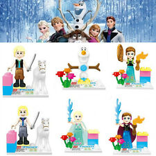 6 Cute Frozen Movie Character Mini Figures Building Blocks Kids Children Toy Set