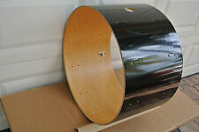 "70s LUDWIG 24"" CLASSIC 6-PLY BLACK CORTEX BASS DRUM SHELL for YOUR DRUM SET V438"