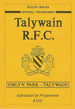 Talywain  v Tredegar Ironsides 1993/4 RUGBY PROGRAMME
