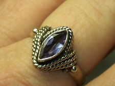 STERLING SILVER 925 ESTATE CABLE WRAPPED MARQUISE PURPLE AMETHYST RING SIZE 7.75