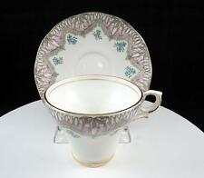 """SALISBURY CHINA ENGLAND PINK AND BLUE FLORAL 2 3/4"""" CUP AND SAUCER SET"""