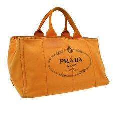 Authentic PRADA Logos Canapa Hand Tote Bag Orange Navy Canvas Vintage S04201