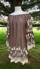 NWT Dress Tunic Embroidered Off The Shoulder Bell Sleeve mocha chambray ivory S