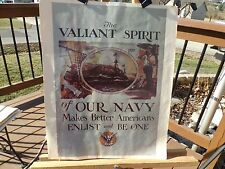 """PRINT OF WWII NAVY RECRUITMENT POSTER NAMED """"THE VALIANT SPIRIT OF OUR NAVY"""""""