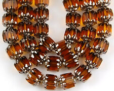 25pcs Czech Fire Polish Cathedral Topaz  w/ Silver Faceted Glass Beads 6mm