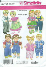 """S 4268 sewing pattern 15"""" Baby DOLL CLOTHES sew Dresses Pants Shirt PJs Overalls"""