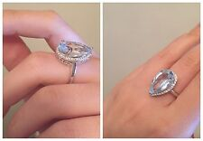 New Sz 7 Sky Blue Topaz White Zircon .925 Sterling Silver Pear Shaped Ring Nwt