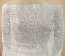 "Ivory Chantilly Floral Bridal Lace Fabric 59"" Wide for Wedding Dress 1/2 Yard"