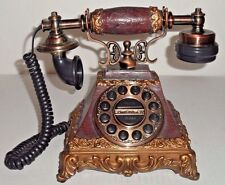 Push Dial Corded Telephone Brass Wood Decorative Home Decor Vintage Collectible