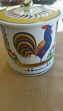 HB Henriot Quimper Tin jar with roosters