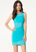 BEBE BLUE MESH KNIT CONTRAST BACK DRESS NWT NEW $99 XXSMALL XXS