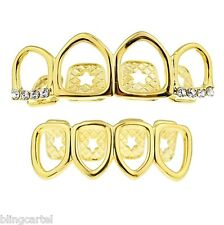 Grillz Set 14k Gold Plated Four Full Open Face Tooth Top & Bottom Teeth Grills
