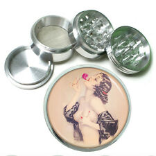 "63mm 2.5"" 4 Pc Aluminum Sifter Magnetic Herb Grinder Pin Up Girl Design-010"