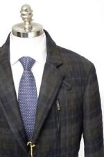 ETRO Gray Plaid Wool Quilted Field Ticket Pocket 3Btn Coat Jacket 52 L NWT