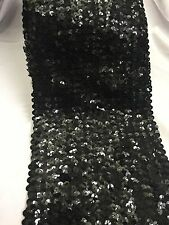 "Black Sequinned Stretchy Trim Band Border, Black, 6"" wide Sold Per Meter"