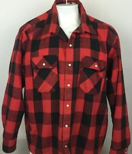 Five Brothers USA 2XL Heavy Flannel Red Black Buffalo Check Trucker Jacket (R2)
