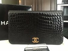 100% AUTH CHANEL VINTAGE CROCODILE CROC FULL FLAP SHOULDER CLUTCH WOC BAG BLACK