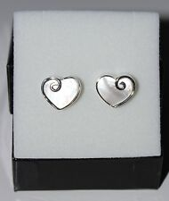 New 925 Sterling Silver Mother of Pearl Heart with Swirl Stud Earrings