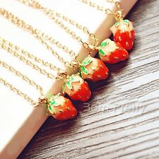 1 Pc Strawberry Drop Pendant Necklace Gold Chain Sweet Design Necklace Jewelry