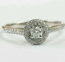 1/3 ct 14K White Gold Round Diamond Halo Engagement Weddng Ring size 6.5