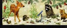 WOODLAND ANIMALS IN SNOWY FOREST & GLITTER ACCENTS PANORAMIC CHRISTMAS CARDS 4