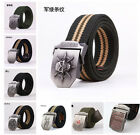 Hot Stainless Steel Buckle Military Army Mens Womens Sports Web Canvas Belt