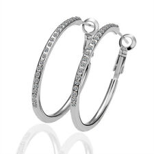 18K White Gold Plated Fashion Crystal Large Circle Women Hoop Earrings EY020