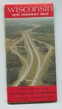 Vintage 1970 Wisconsin Official Highway Road Map Nice and  Clean!