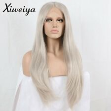 long hair Silver Platinum Blonde Lace Front Lace Wigs Synthetic Ash Blonde Heat