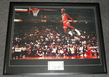 Michael Jordan Signed Framed 31x40 Poster Photo Display JSA Dunk Contest Bulls