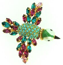 Rare 1968 CHRISTIAN DIOR Germany BIRD Figural Rhinestone Hand Painted Brooch Pin