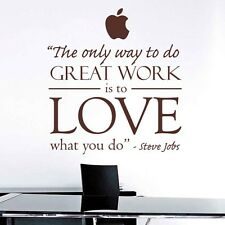 """""""The Only Way To Do ...""""Steve Jobs Quotes Vinyl Sticker Office Wall Decals Decor"""