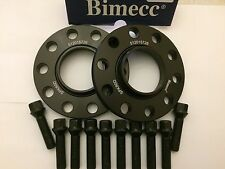 12mm BIMECC BLACK HUB CENTRIC SPACERS + 10 X 40mm BOLTS FITS AUDI M14X1.5 57