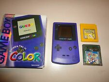Nintendo Game Boy Color Grape Handheld System w/ Box, Pokemon Yellow, and Mario