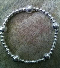 Silver Stacking Ball Beaded Bracelet Boho Stretch