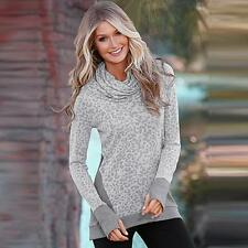 Casual Womens Loose Long Sleeve Pullover Long Tops Shirt Autumn Blouse Sweater