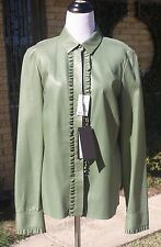 New Designer GUCCI 46 Neiman Marcus Army Olive Green Leather Blouse Shirt TAGS