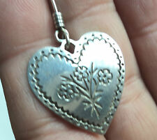 James Avery Single Flower Etched Heart Dangle Earring Sterling Not a Pair
