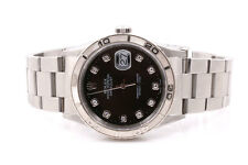 Rolex Mens Thunderbird Datejust - Factory Black Diamond Dial - Oyster Band 16264